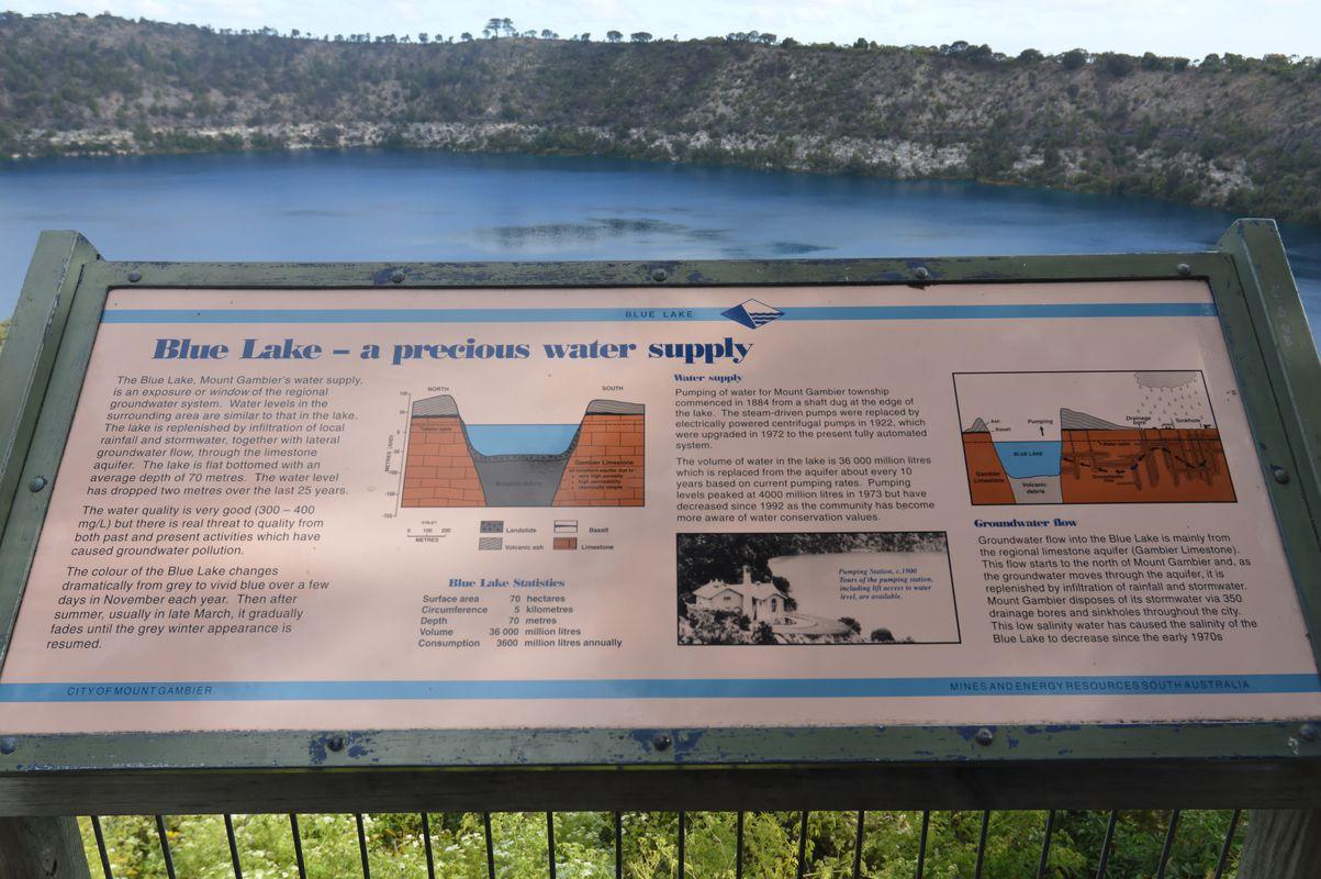 mont gambier lac bleu panneau